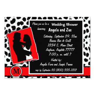 Invitación blanca y negra roja del leopardo del
