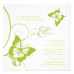 Invitación blanca y verde del boda de la mariposa