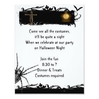 Invitación blanco y negro de Halloween de la Luna