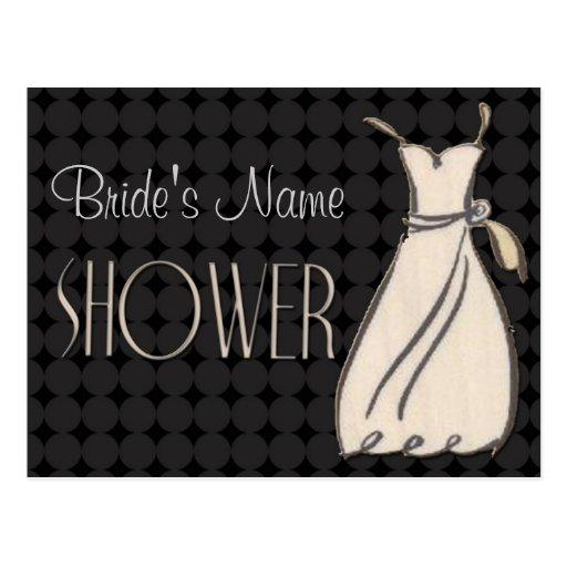 Invitación blanco y negro de la ducha postal