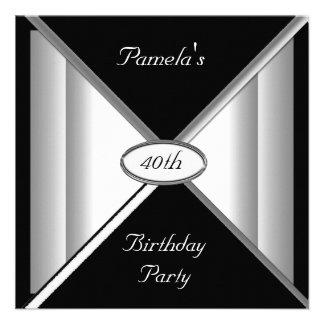 Invitación blanco y negro de la fiesta de cumpleañ