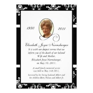 Invitación blanco y negro de la muerte de la foto