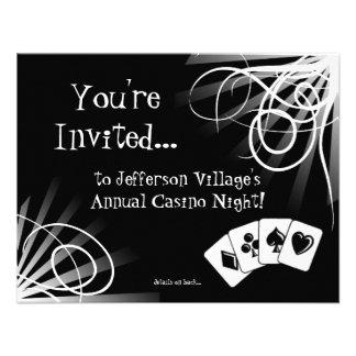 Invitación blanco y negro de la noche del casino