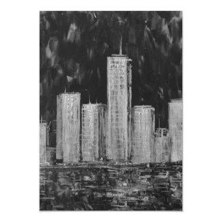 Invitación blanco y negro de los rascacielos de