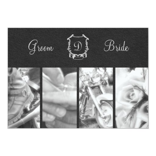 Invitación blanco y negro de moda del boda del invitación 12,7 x 17,8 cm