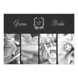 Invitación blanco y negro de moda del boda del mot
