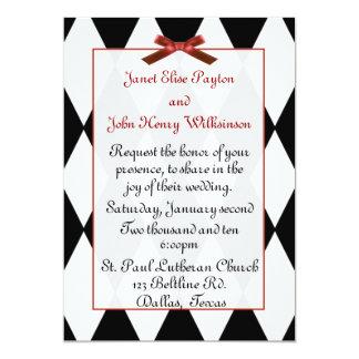 Invitación blanco y negro del boda de diamantes