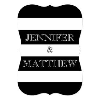 invitación blanco y negro del boda de la raya invitación 12,7 x 17,8 cm