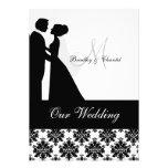 Invitación blanco y negro del boda de los pares de