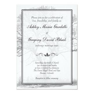 Invitación blanco y negro del boda del árbol del