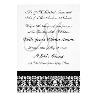 Invitación blanco y negro del boda del damasco