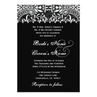 Invitación blanco y negro del boda del damasco del