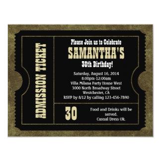 Invitación blanco y negro del boleto, estilo del invitación 10,8 x 13,9 cm
