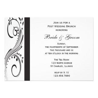 Invitación blanco y negro del brunch del boda del
