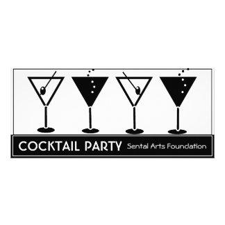 Invitación blanco y negro del cóctel tarjeta publicitaria personalizada