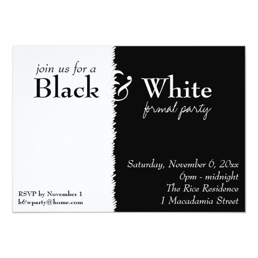 Invitación blanco y negro del fiesta de 2 temas