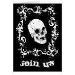 Invitación blanco y negro del fiesta de Halloween Tarjeta Pequeña