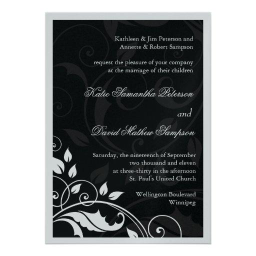 Invitación blanco y negro elegante del boda