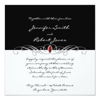 Invitación blanco y negro y de rubíes del boda del