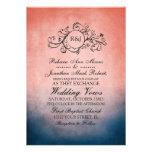 Invitación bohemia azul y rosada rústica del boda