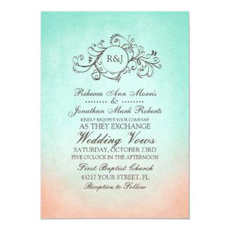 Invitación bohemia del boda de la menta y del invitación 12,7 x 17,8 cm