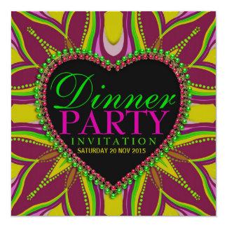 Invitación bohemia del fiesta de cena de la noche