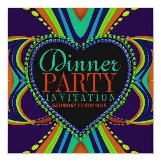 Invitación bohemia del fiesta de cena del verde