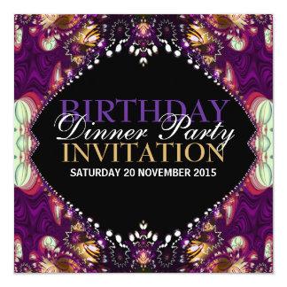 Invitación bohemia púrpura del fiesta de cena del