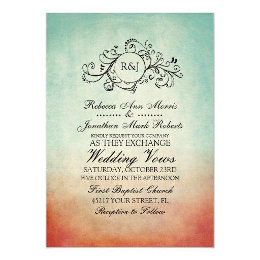 Invitación bohemia roja y azul rústica del boda