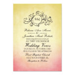 Invitación bohemia rosada y amarilla rústica del invitación 12,7 x 17,8 cm