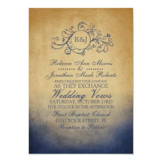 Invitación bohemia rústica del boda de la marina invitación 12,7 x 17,8 cm