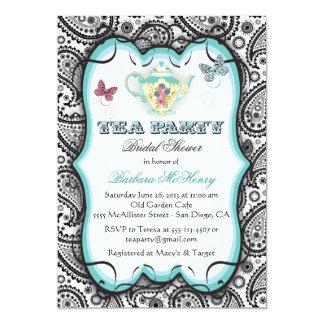 Invitación bonita de la fiesta del té de Paisley