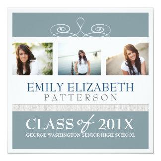 Invitación bonita de la graduación del collage de invitación 13,3 cm x 13,3cm