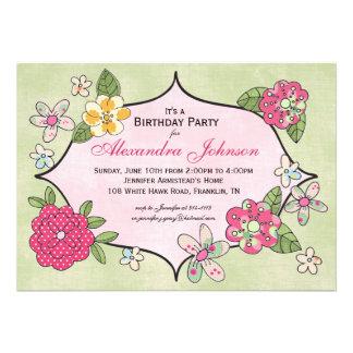 Invitación bonita de los ramilletes - frambuesa