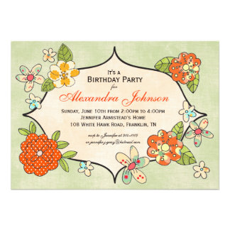 Invitación bonita de los ramilletes - mandarina