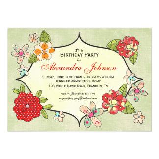 Invitación bonita de los ramilletes - rojo cereza