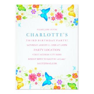 Invitación bonita del cumpleaños de la mariposa