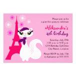 Invitación bonita del cumpleaños de París del gati