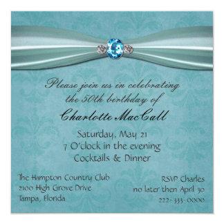 Invitación bonita del cumpleaños del damasco de la