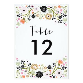 Invitación bonita del número de la tabla del boda