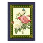 Invitación botánica de los rosas rojos y blancos