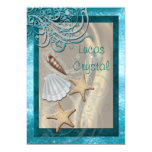 Invitación brillante del boda de playa del trullo