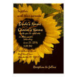 Invitación brillante del boda del girasol