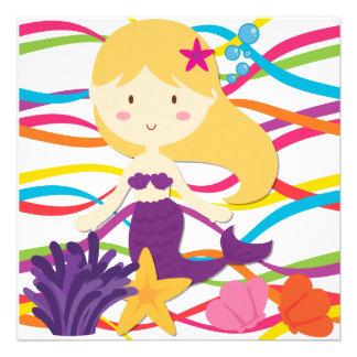 Invitación brillante del cumpleaños de la sirena d