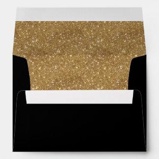 Invitación brillante del negro del trazador de sobres