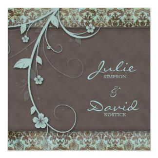 Invitación Brown azul floral del boda del vintage