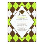 Invitación Brown de muy buen gusto y Argyle verde