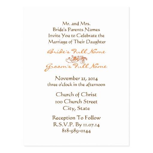 Invitación Brown del boda y fuente del naranja en Tarjeta Postal