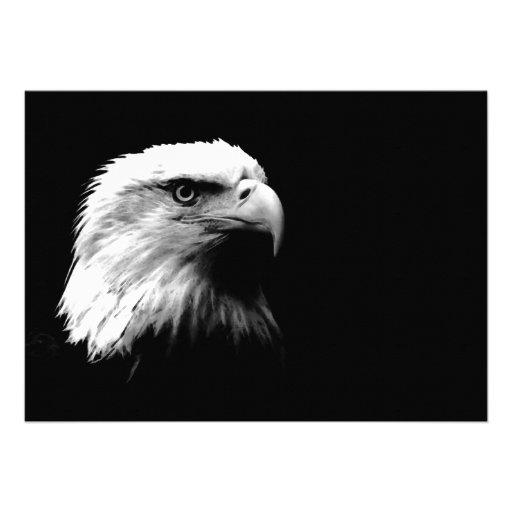 Invitación calva negra y blanca de American Eagle
