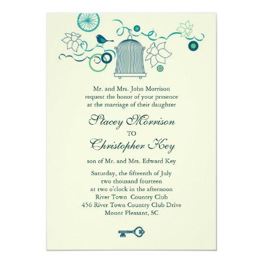 Invitación caprichosa del boda de la jaula de